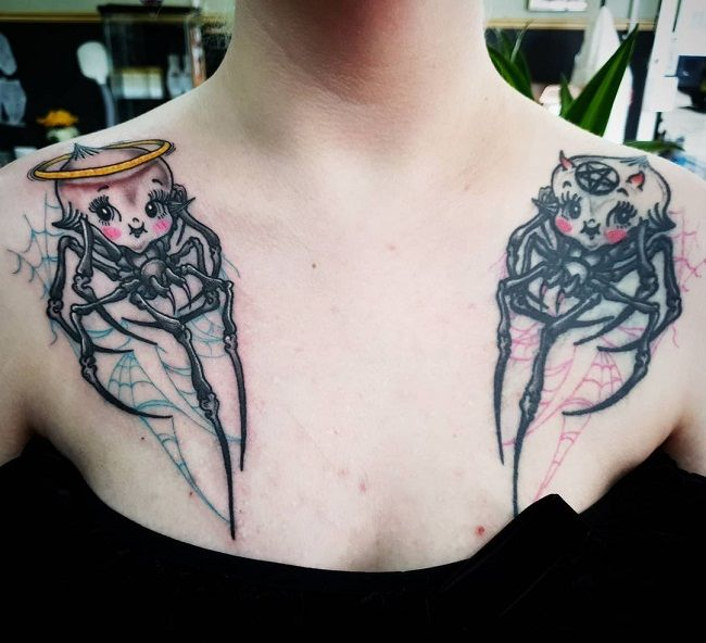 'Angel and Devil Spider' Tattoo