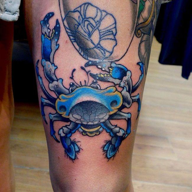 'Blue Themed Crab' Tattoo