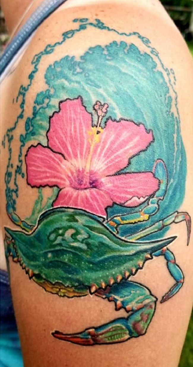 'Crab with Hibiscus Flower' Tattoo