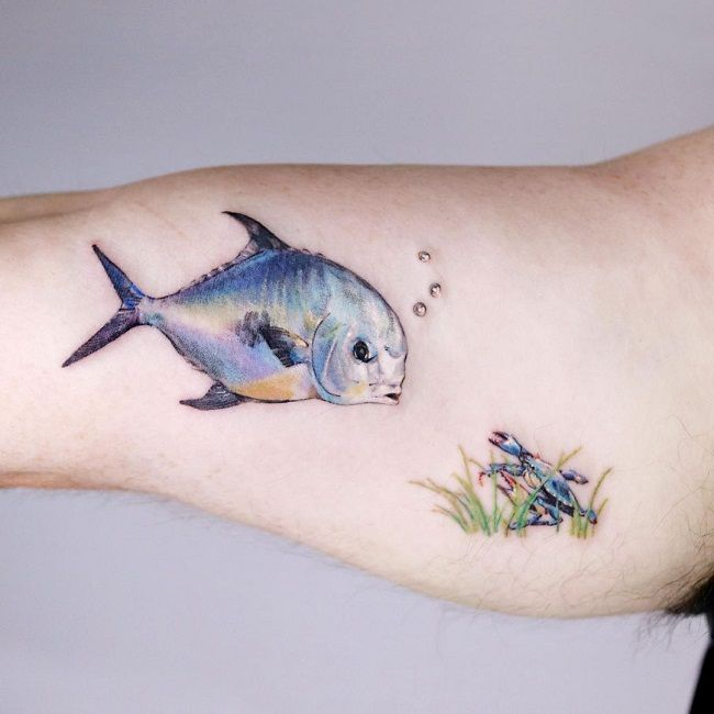 'Crab with the Permit Fish' Tattoo