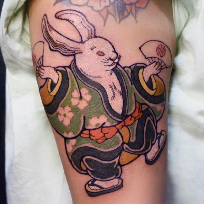 Japanese Style Rabbit Tattoo