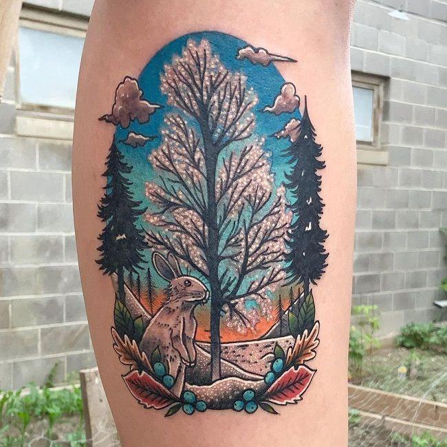 Landscape- Theme Rabbit Tattoo