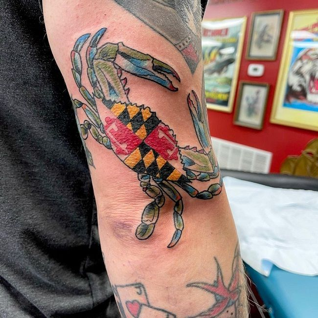 'Maryland Flag Crab' Tattoo