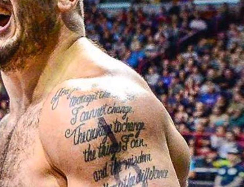 Mat shoulder writing tattoo