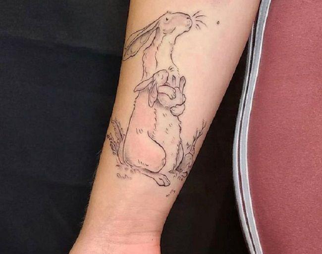 'Mum and Baby Rabbit' Tattoo