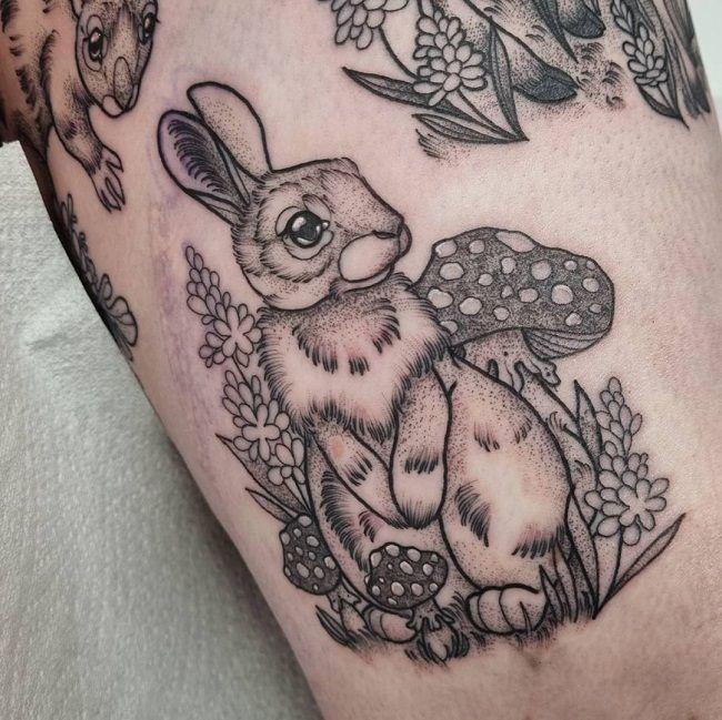 'Rabbit with Mushrooms' Tattoo