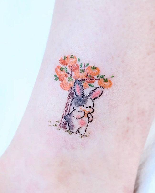 'Rabbit with Persimmon Tree' Tattoo