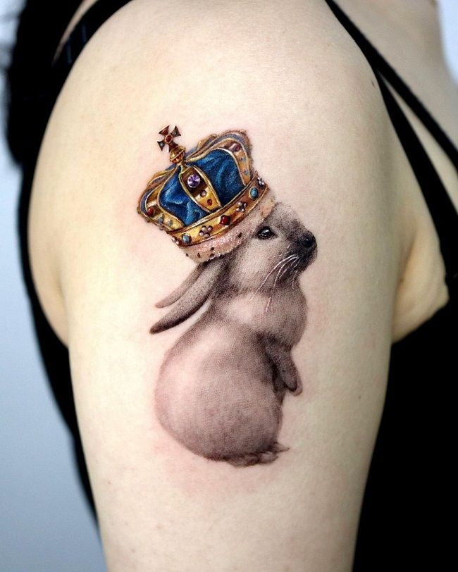 'Rabbit with the Crown' Tattoo