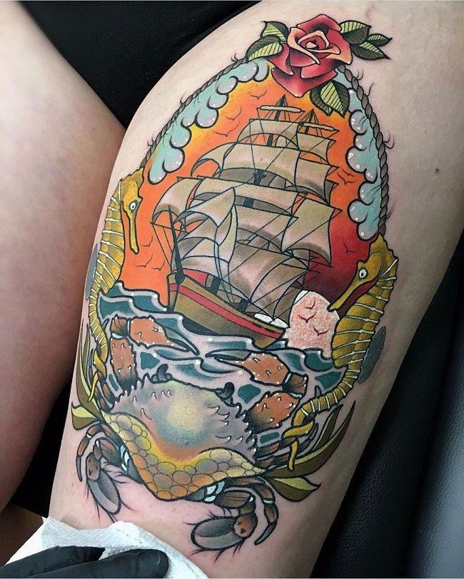 'Sea Theme Crab' Tattoo
