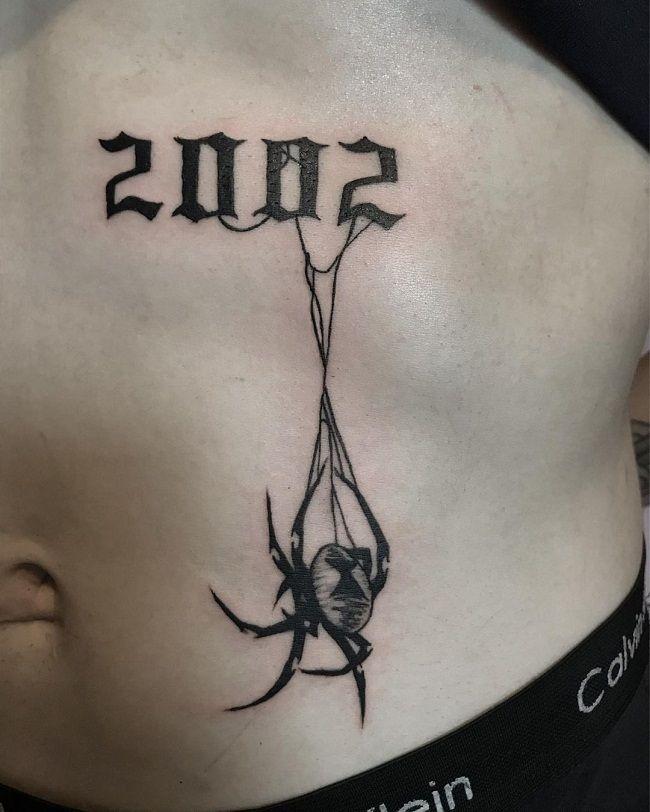 'Spider with Birth Year' Tattoo