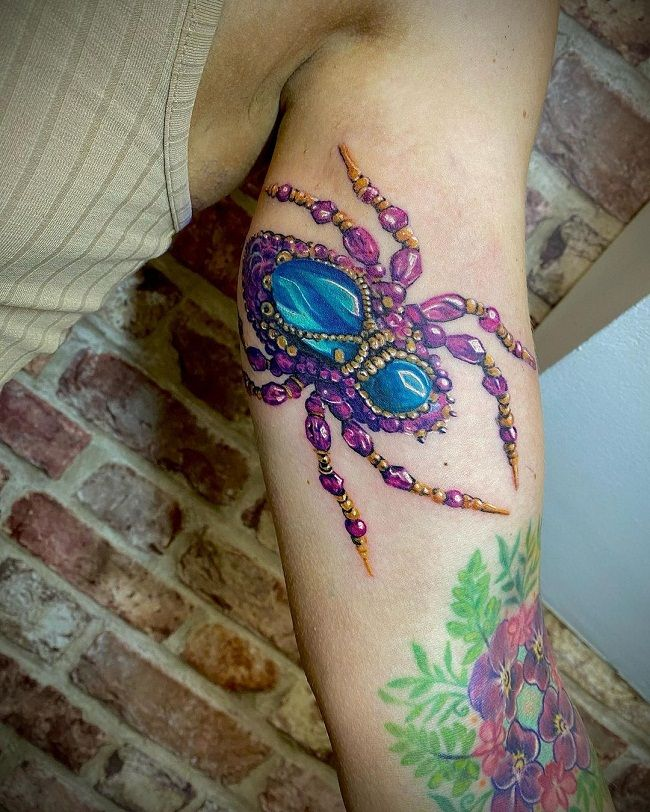 'Spider with Jewelry' Tattoo