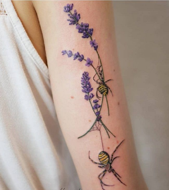 'Spider with Lavender Flowers' Tattoo