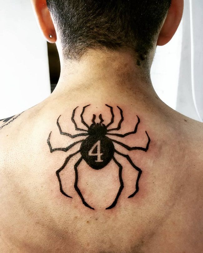 'Spider with a Number 4' Tattoo