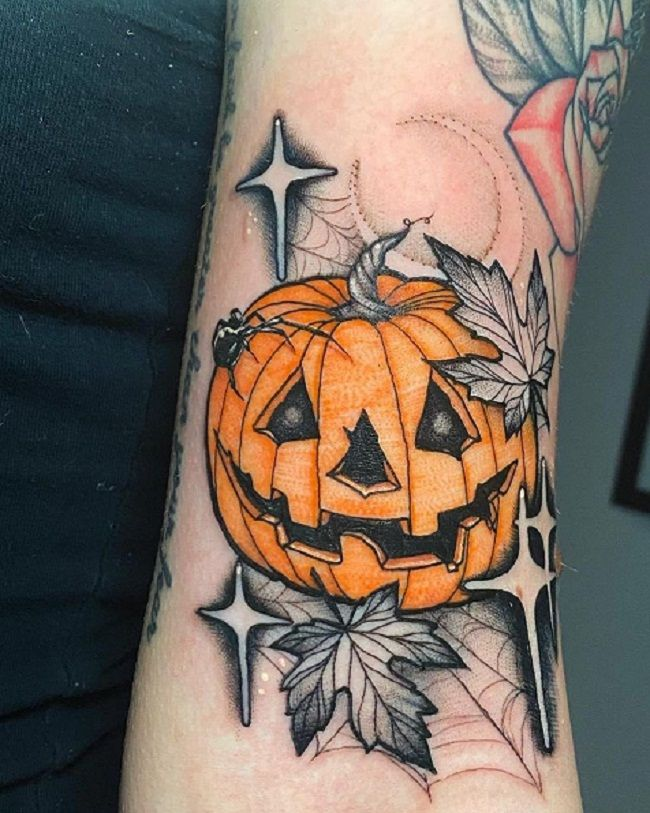 'Spider with the Pumpkin' Tattoo