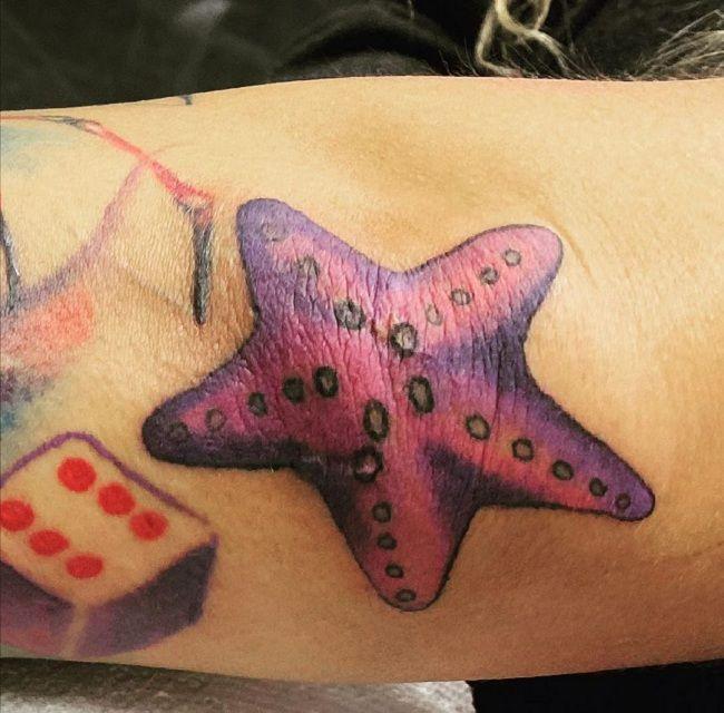 'Starfish with a Dice' Tattoo