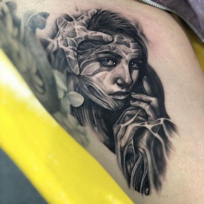 'Starfish with a Girl' Tattoo