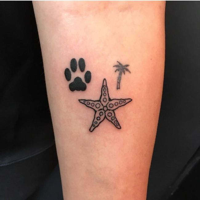 'Starfish with a Paw and a Palm Tree' Tattoo