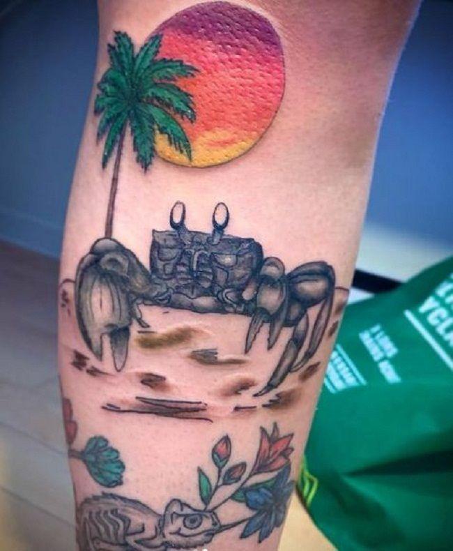 'Sunset Crab'Tattoo