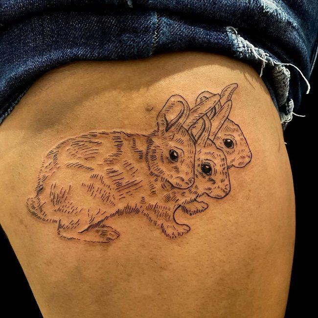 Triple Rabbit Tattoo