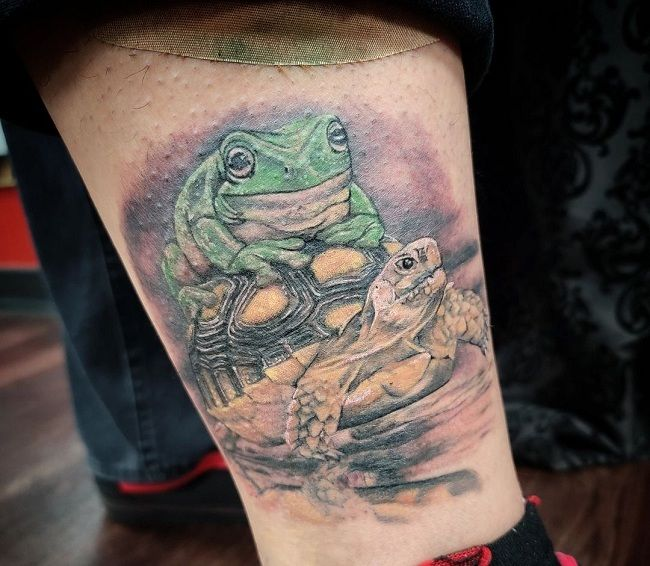 'A Frog sitting on a Turtle' Tattoo