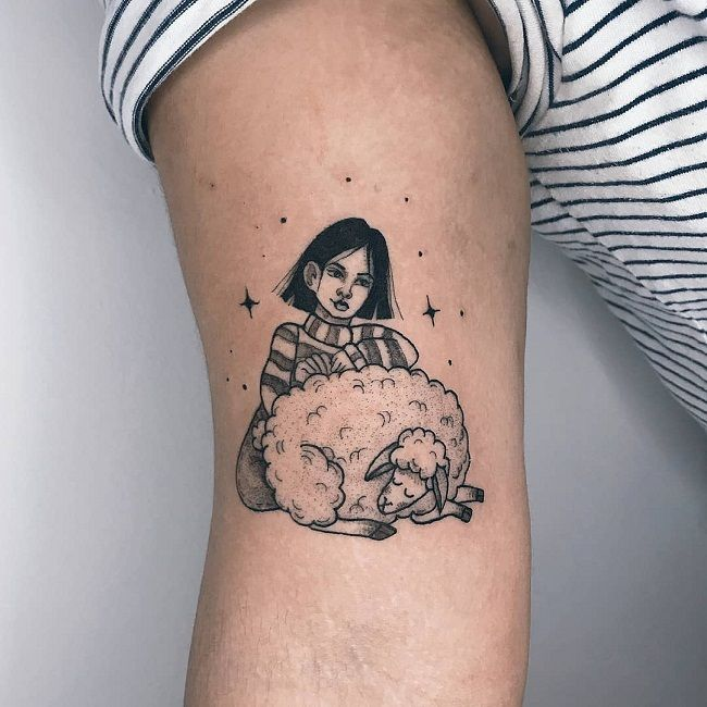 'A Girl with a Sheep' Tattoo