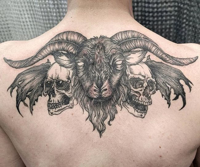 'A Goat with two Skulls' Tattoo