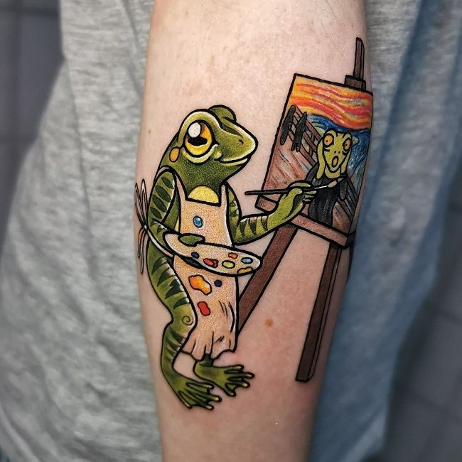 'A Painter Frog' Tattoo