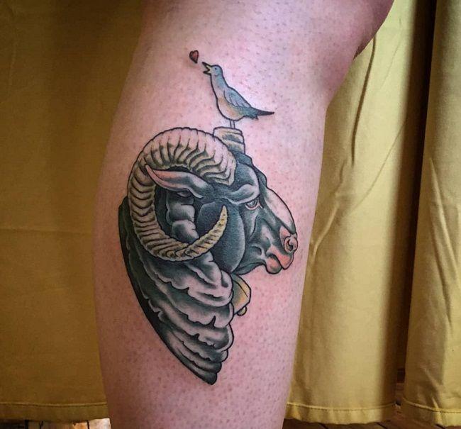 'A bird on the Sheep Horn' Tattoo