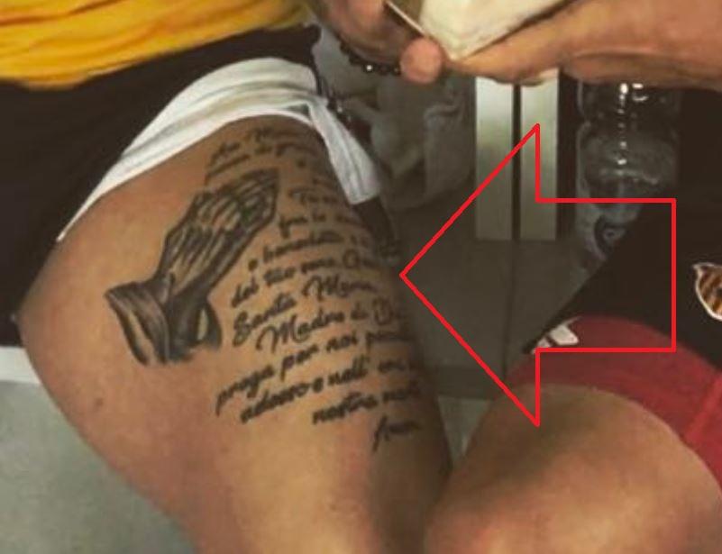 Amato prayer on thigh tattoo