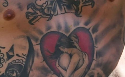 Amato red heart on stomach