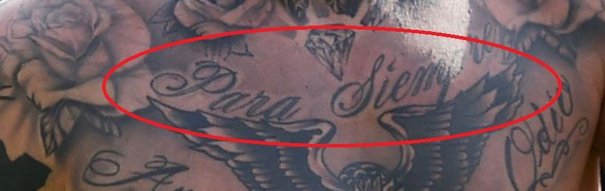 Amato writing on chest