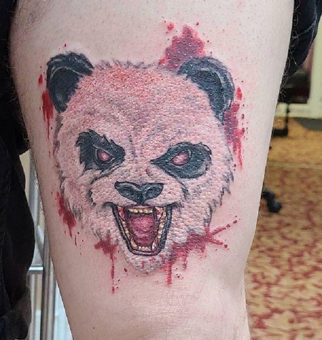 Angry Face Panda Tattoo