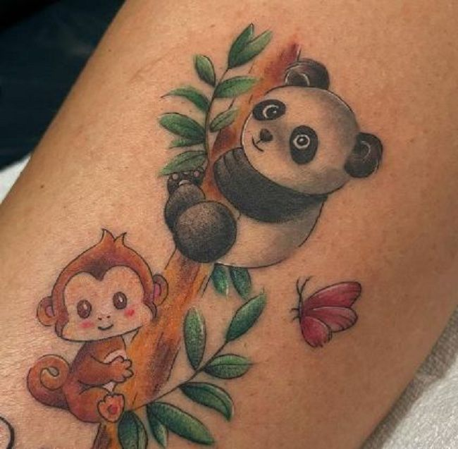'Baby Panda with a Monkey and a Butterfly' Tattoo