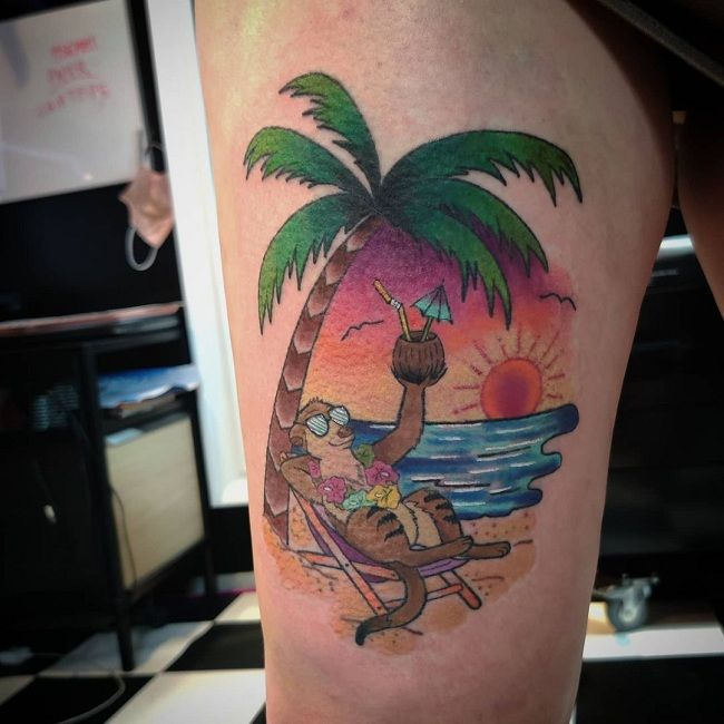 Beach-Theme Mongoose Tattoo