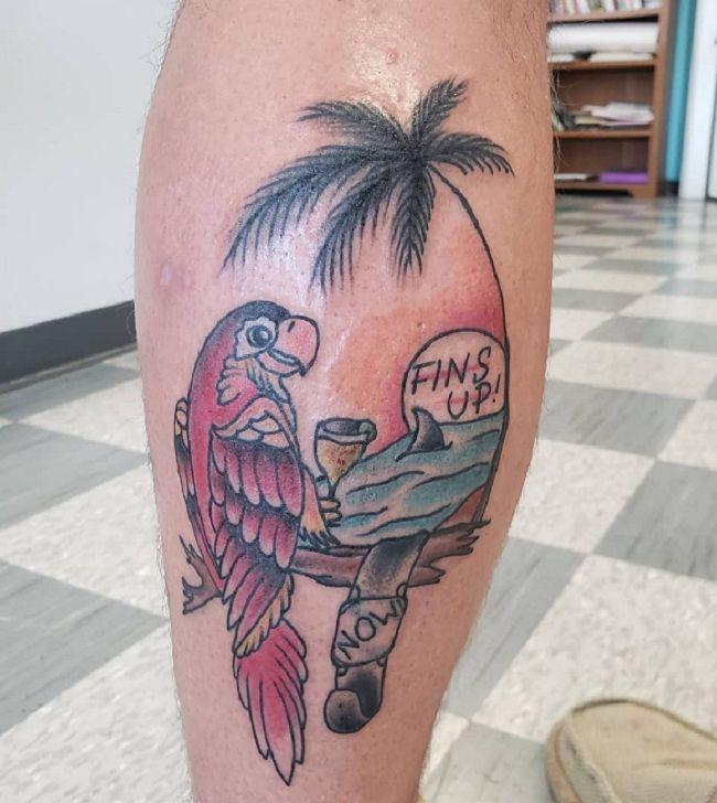 Beach-Theme Parrot Tattoo