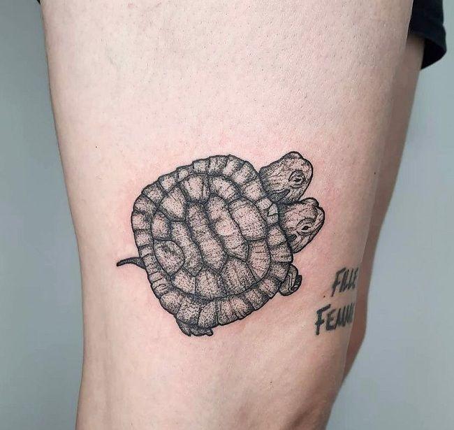 Bicephalic Turtle Tattoo