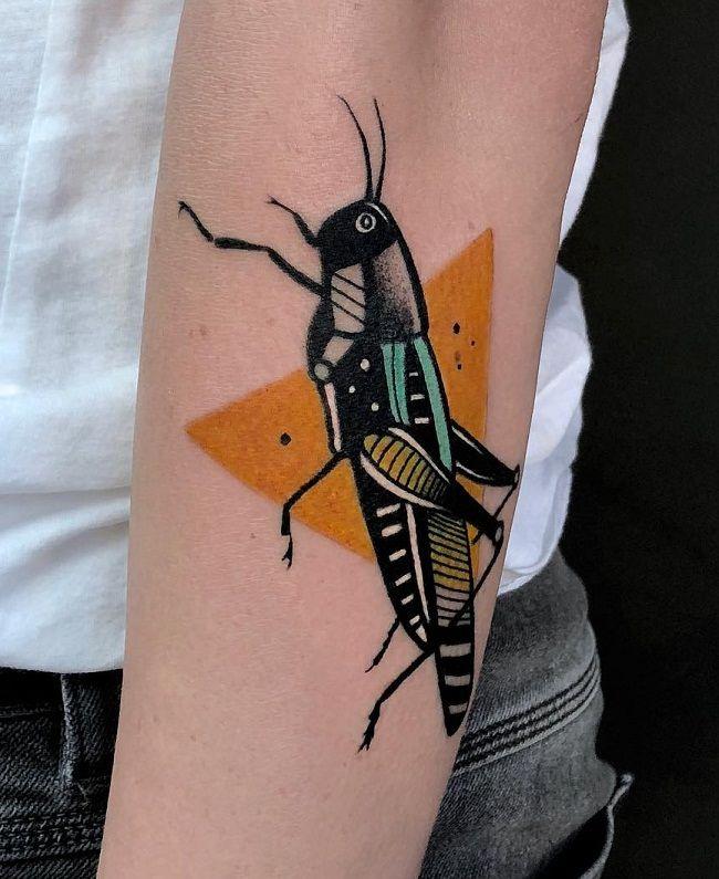 Black Grasshopper Tattoo