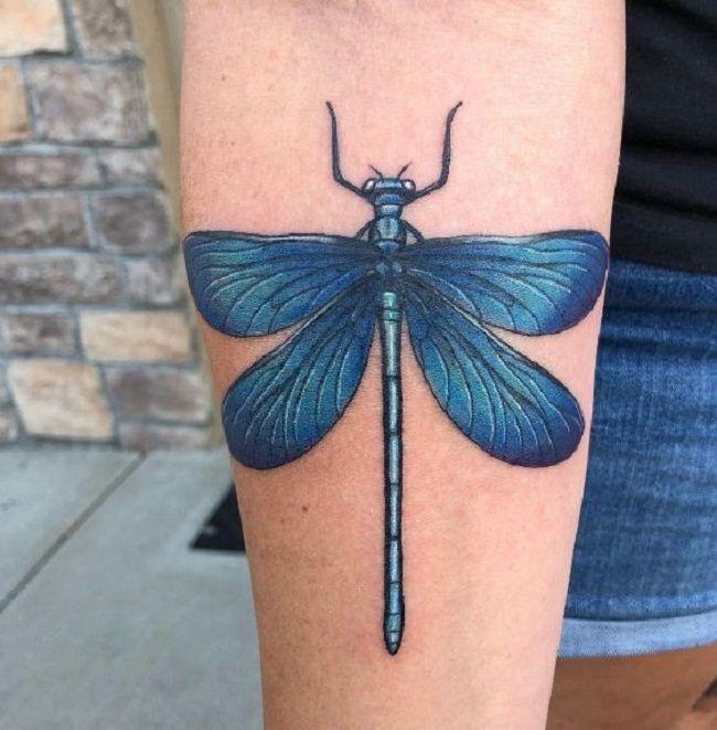 Blue Dragonfly Tattoo