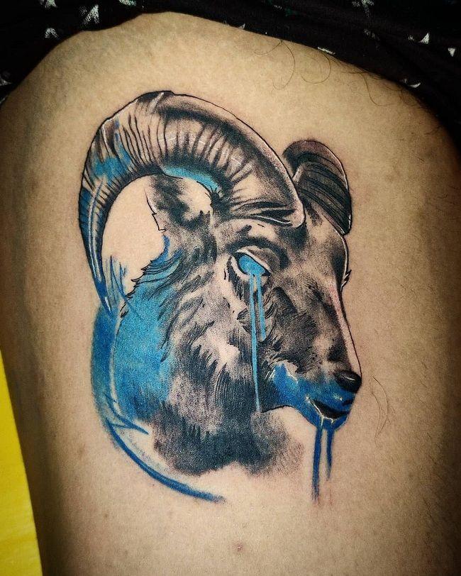 Blue-Theme Goat Tattoo