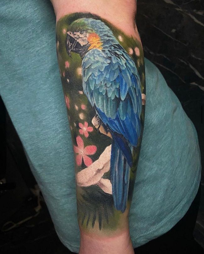 Blue-Theme Parrot Tattoo