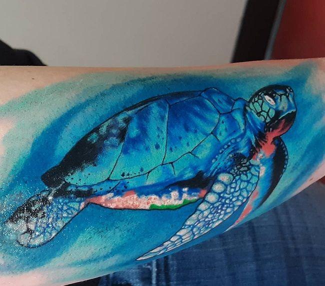 Blue-Theme Turtle Tattoo