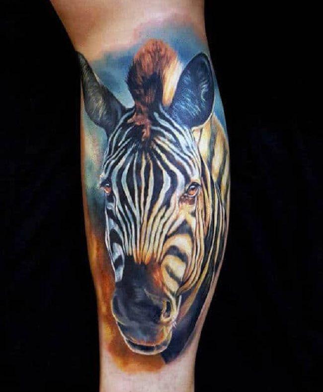 Blue-Theme Zebra Tattoo