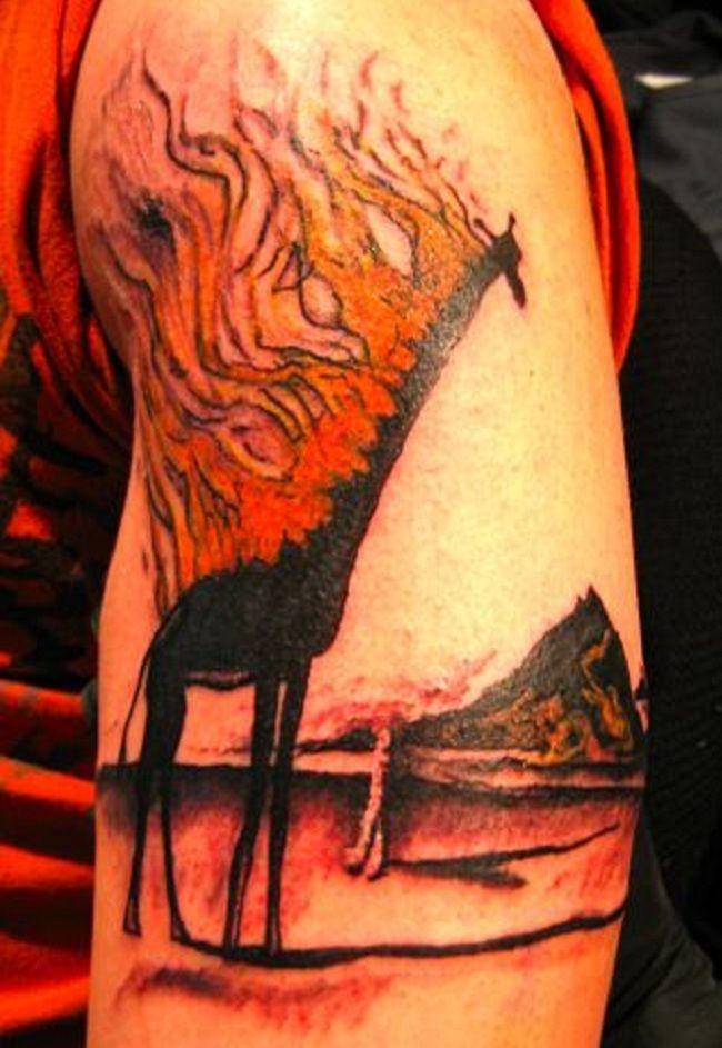 Burning Giraffe Tattoo
