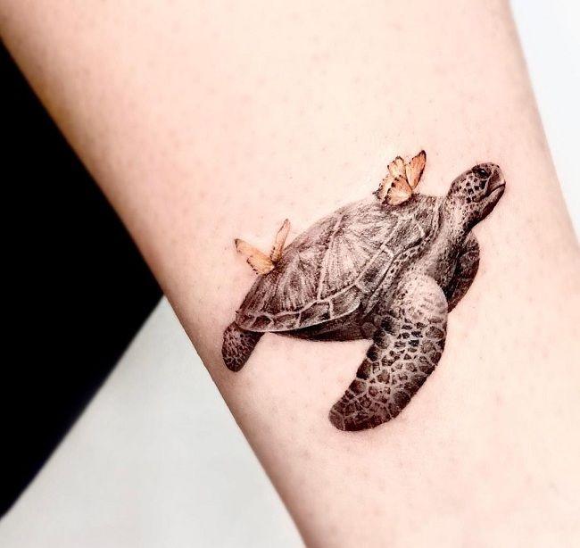 'Butterflies sitting on a Turtle' Tattoo