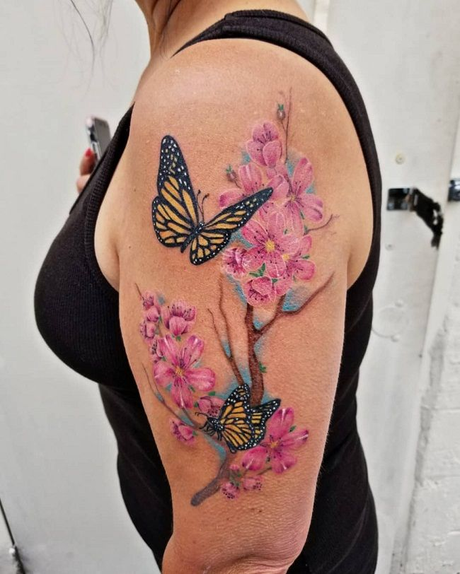 'Butterflies with Cherry Blossom' Tattoo