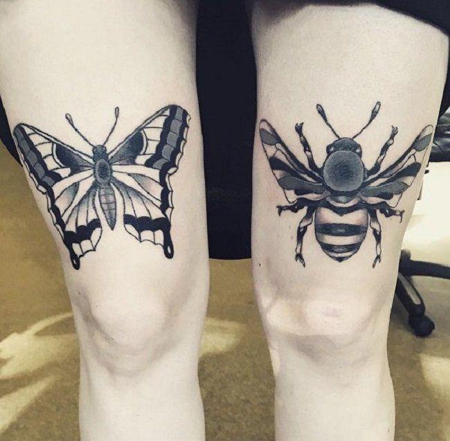 Butterfly-Honeybee Tattoo