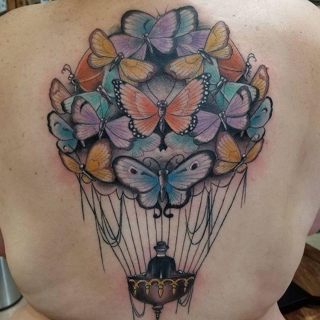 Butterfly Hot-air Balloon Tattoo