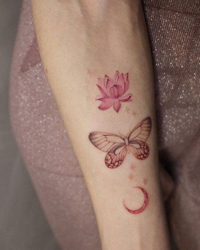 'Butterfly with Crescent Moon and Lotus Flower' Tattoo