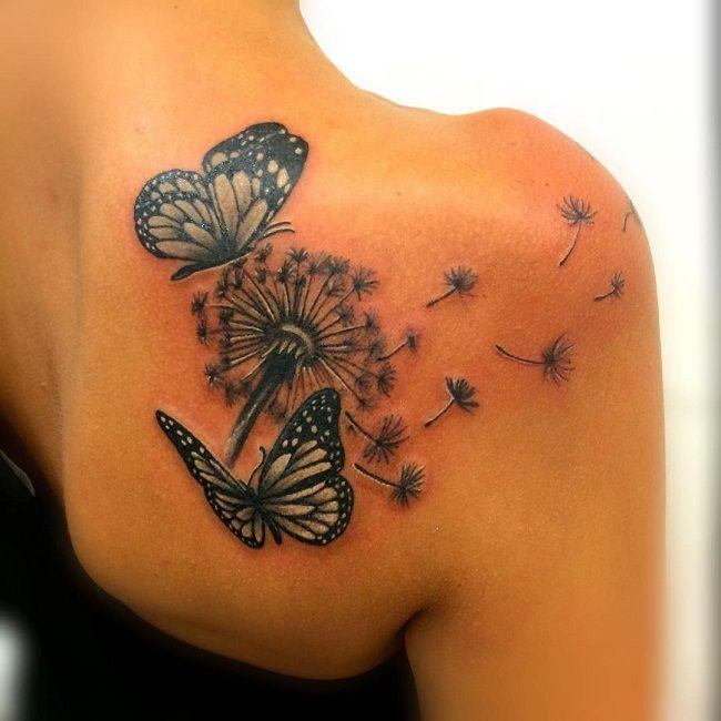 'Butterfly with Dandelion Flower' Tattoo