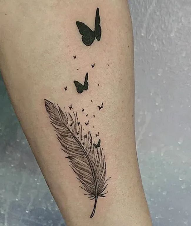 'Butterflies with Feather' Tattoo